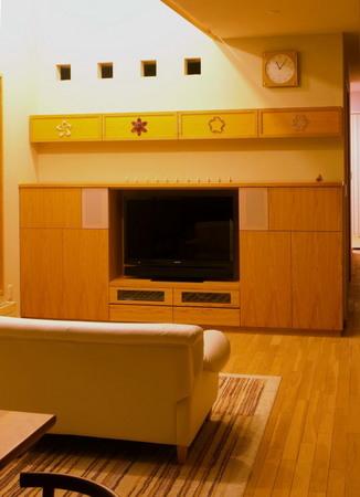 ナラ突き板のTV収納、DVD棚とアートマグネットー3.jpg